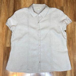 Cherokee Short Sleeve Linen Shirt Women's Size L